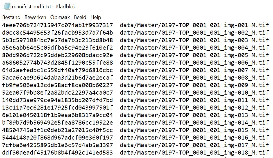 Screenshot van een checksum file volgens de Bagit-specificatie